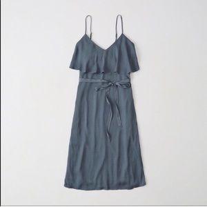Abercrombie & Fitch Ruffle Tie-Waist Midi Dress